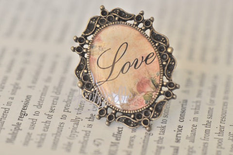 Vintage Shabby Chic Love Inspiration Ring