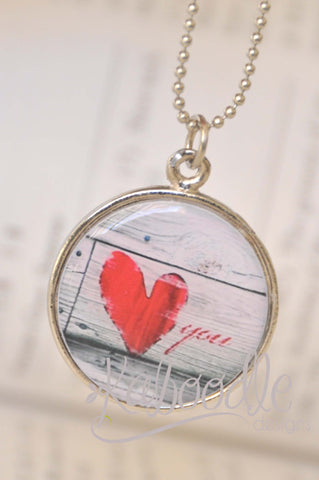 Handmade 25mm Resin Necklace - Handmade Art Pendant - Rustic Love Heart