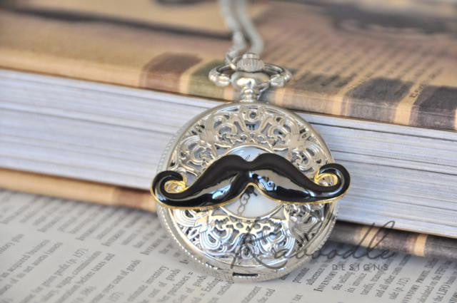 Love the Moustache - Large Pocket Watch Necklace