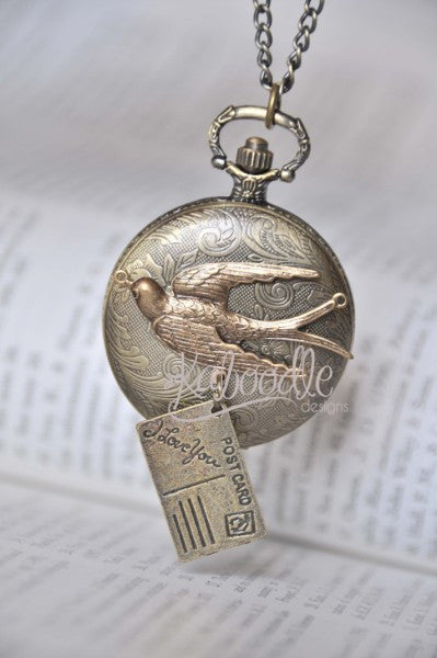 Lovers Note - Bird Delivering Postcard Pocket Watch Necklace
