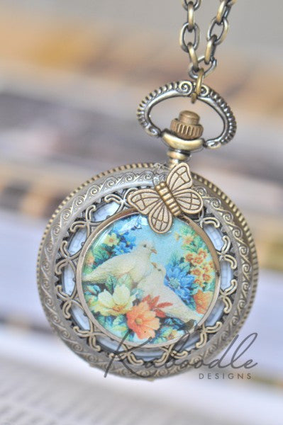 Lovey Dovey - Large Pocket Watch Necklace