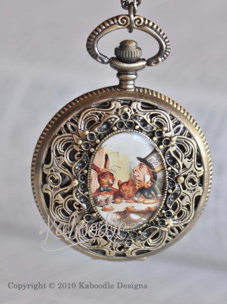 Mad Hatter Tea Party - Large Pocket Watch Necklace