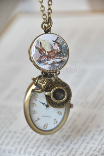 Mad Hatter Tea Party Locket Necklace