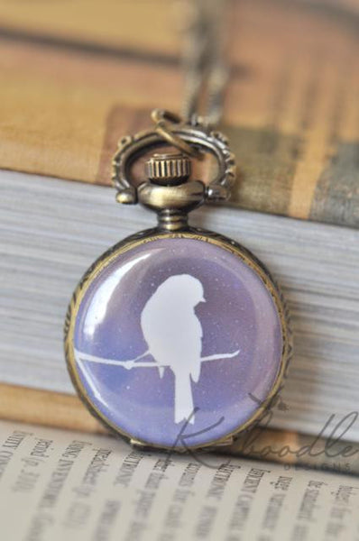 Midnight Bird Pocket Watch Necklace