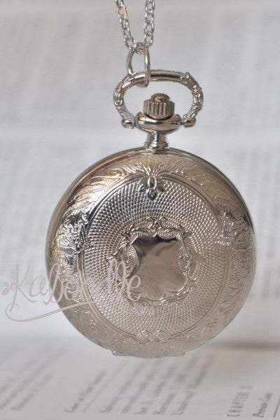 Old School Days in Silver - Pocket Watch Necklace