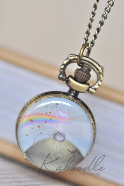 Over the Hill and Fly Away - Pocket Watch Necklace