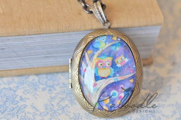 Owl Canvas - Large Oval Locket