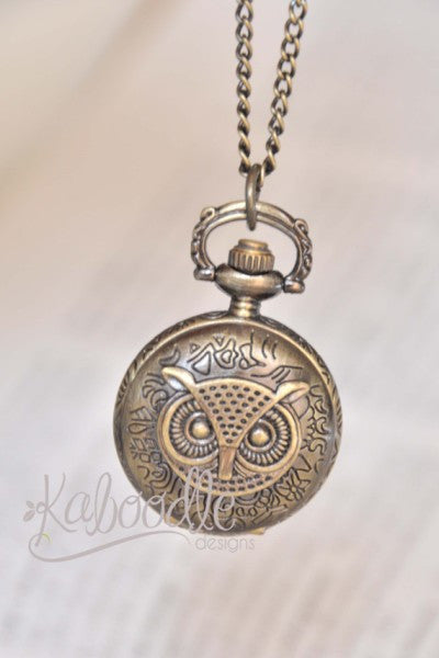 Owl Face Pocket Watch Necklace