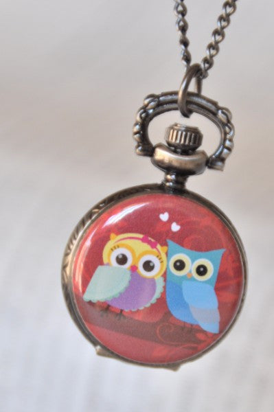 Owl Lovers - Pocket Watch Necklace