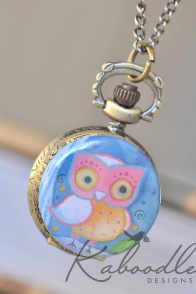 Owl Painting - Small Pocket Watch Necklace