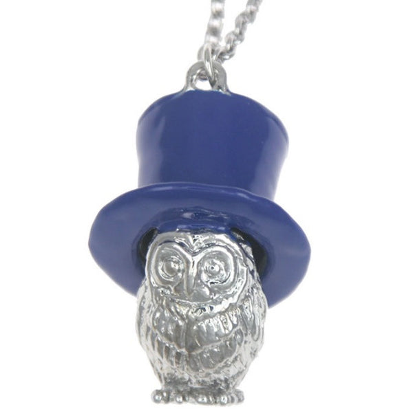 Owl In A Hat in Blue - Quirky Necklace
