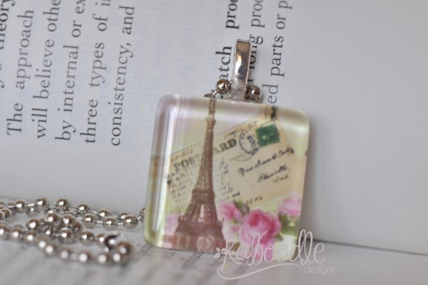 Handmade Glass Square Pendant - Paris Eiffel Tower P.S. I Love You