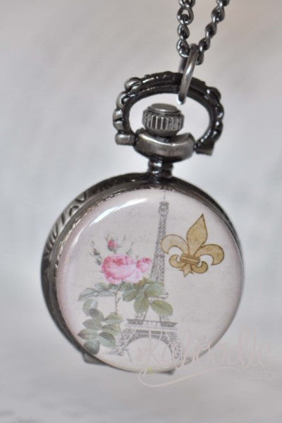 Paris Fleur De Lis - Pocket Watch Necklace