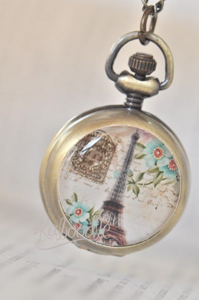 Paris Eiffel Tower - Handmade Pocket Watch Necklace