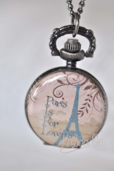 Paris Script - Pocket Watch Necklace