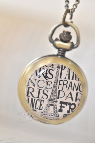 Paris Eiffel Tower in Pink - Handmade Pocket Watch Necklace
