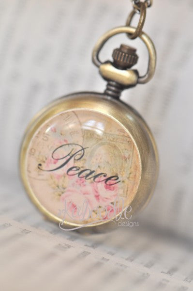 Peace in Vintage - Handmade Pocket Watch Necklace