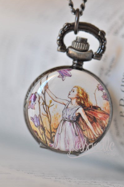 Purple Fairy - Pocket Watch Necklace