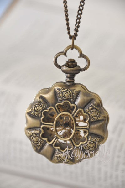 Queen Anne in Luminescent - Mechanical Pocket Watch Necklace