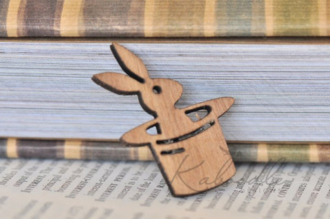Rabbit in A Hat Wooden Brooch