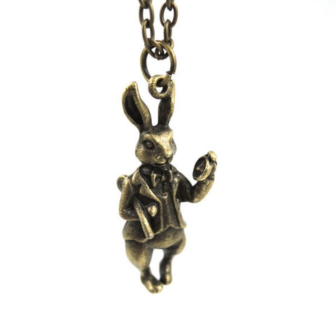 Alice In Wonderland White Rabbit Brass Necklace