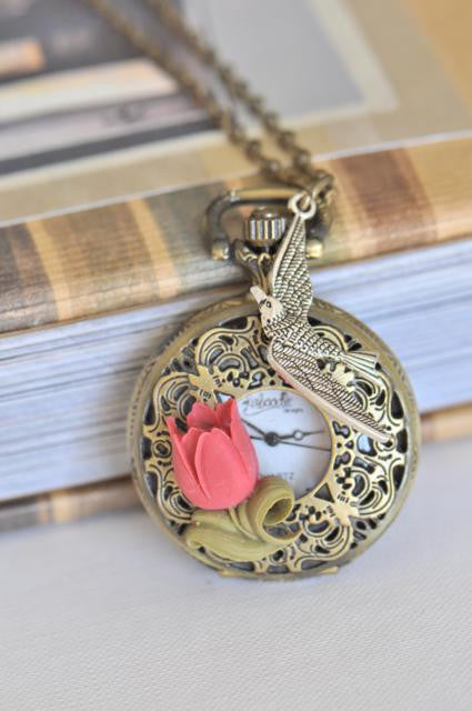 Red Tulips - Pocket Watch Necklace