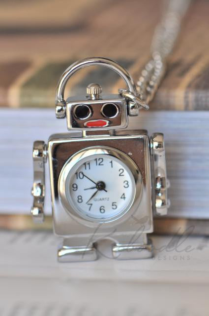 Robot DJ Watch Necklace in Silver