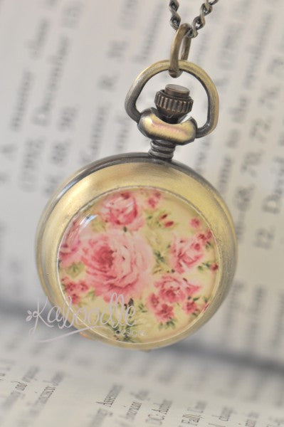 Shabby Chic Rose - Handmade Pocket Watch Necklace