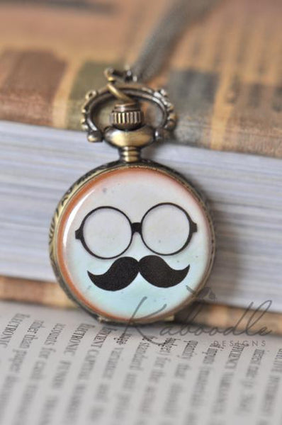Round Specs and Moustache Pocket Watch Necklace