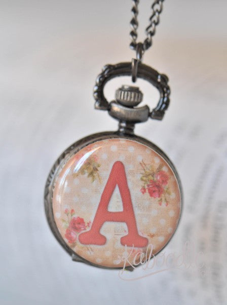 Shabby Pink Rose Alphabet Initial - Pocket Watch Necklace