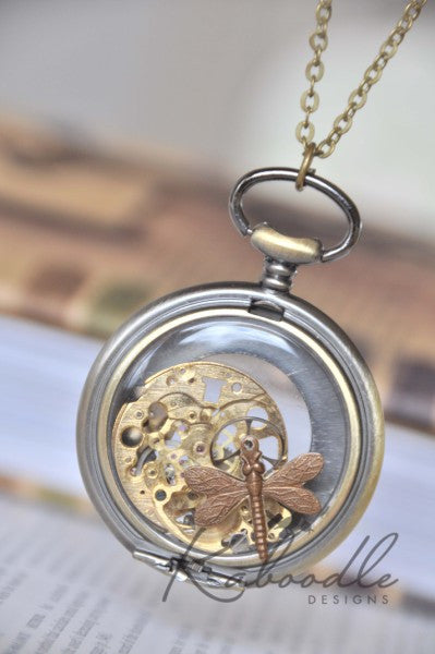 Shattered Clockworks Necklace with Dragonfly