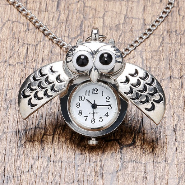 Open Wings Owl Pocket Watch Necklace in Silver
