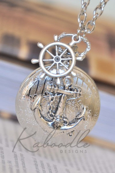 Smooth Sailing in Silver - Pocket Watch Necklace