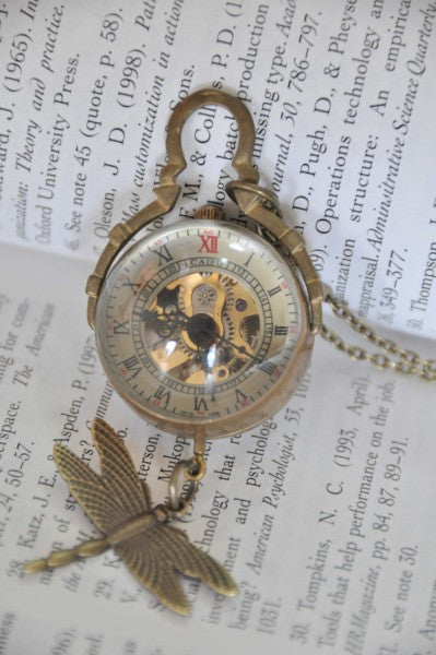 Steampunk Dragonfly Bauble Pocket Watch Necklace