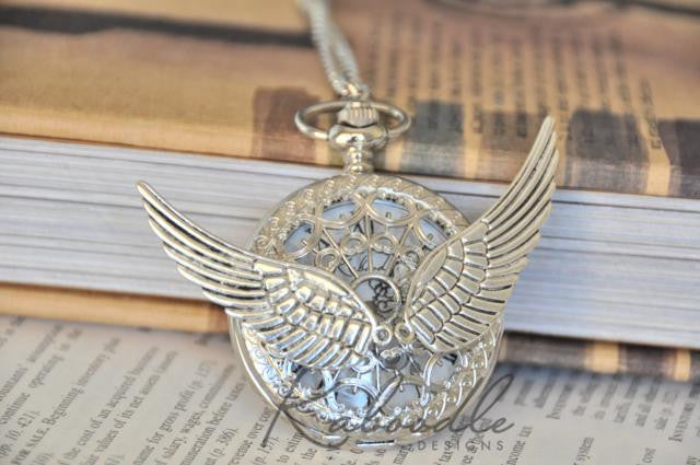 Steampunk Wings - Large Pocket Watch Necklace