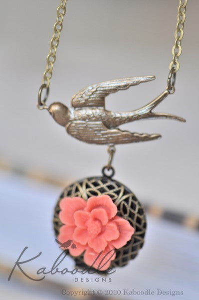 Swallow Floral Locket Necklace