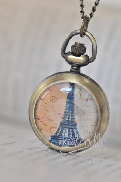 Take Me to Paris - Handmade Pocket Watch Necklace