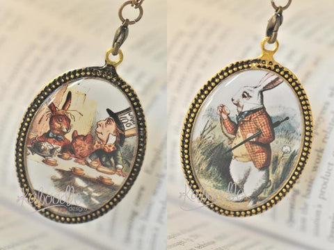 Handmade Oval Resin Double-Sided Necklace - Alice In Wonderland Tea Party and White Rabbit