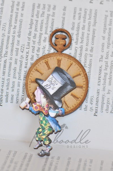 Mad Hatter Tea Party Wooden Brooch