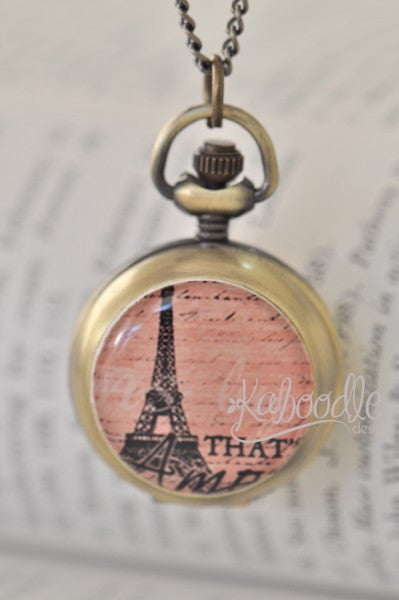 That's Amore - Handmade Paris Eiffel Tower Pocket Watch Necklace