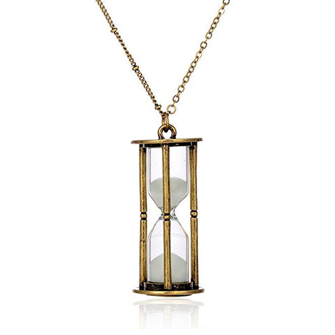Vintage Inspired Brass Hourglass Timer Necklace