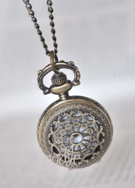 Tranquility in Bronze - Small Pocket Watch Necklace