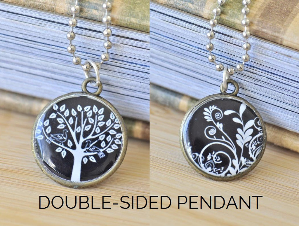 Handmade 25mm Double-Sided Glass Pendant Necklace - Tree and Vector Floral Swirls