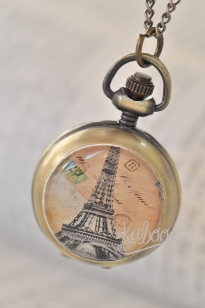Unforgettable Moments in Paris - Handmade Pocket Watch Necklace