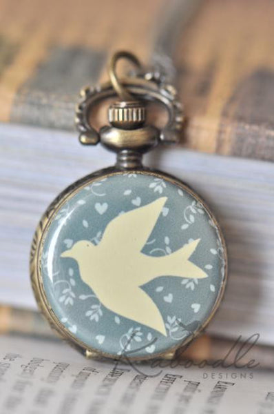 Vector Stamp Bird Pocket Watch Necklace