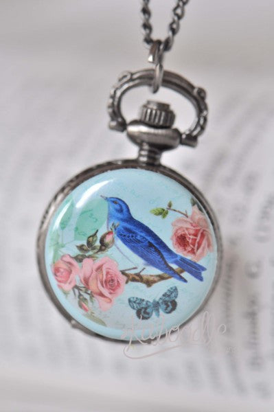 Victorian Bird - Pocket Watch Necklace
