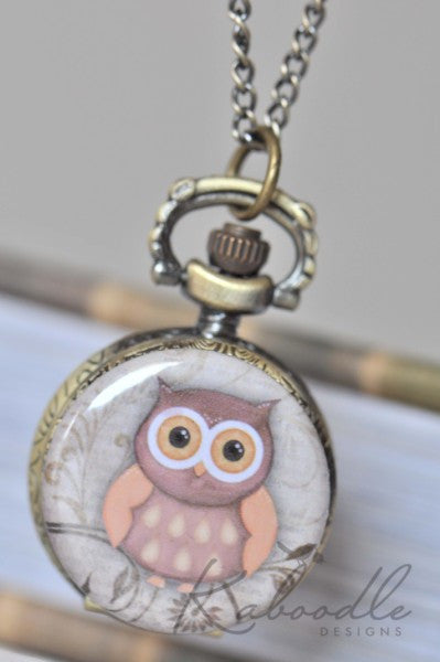 Vintage Owl - Pocket Watch Necklace