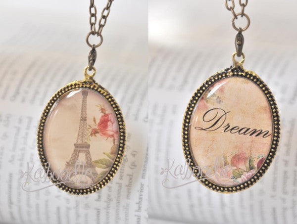 Handmade Oval Resin Double-Sided Necklace  - Vintage Paris and Dream Script