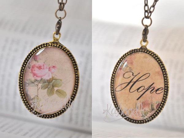 Handmade Oval Resin Double-Sided Necklace - Vintage Rose and Hope Script