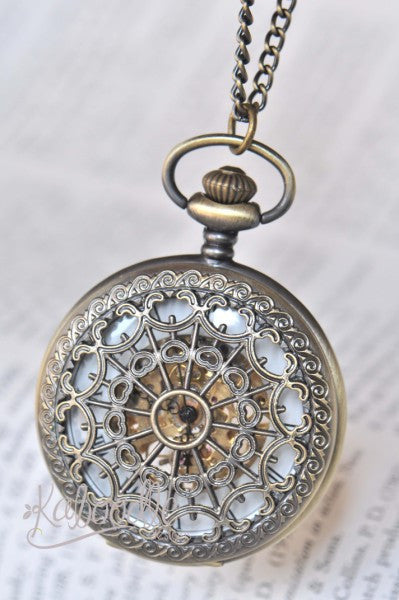 Vintage Spiderweb in Bronze - Mechanical Pocket Watch Necklace